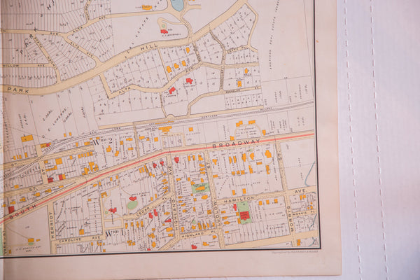 Vintage map of Hudson River city Yonkers NY located outside of NYC