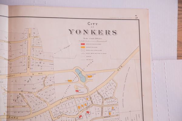 Vintage antique paper map of the city of Yonkers NY located south of the Bronx and New York City in Westchester County