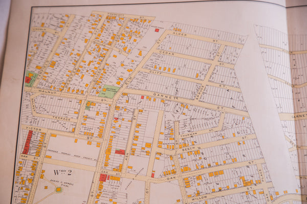 Medium size framable antique map of the city of Yonkers New York located in Westchester County NY