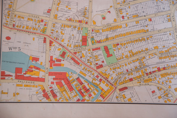 Antique map of the city of Yonkers NY located in Westchester County just south of NYC