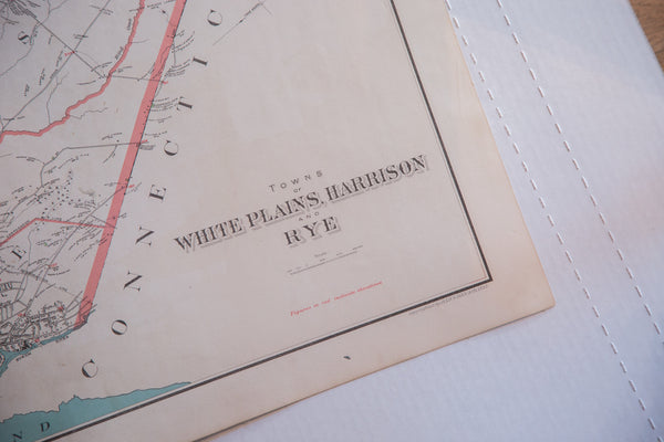 Beautiful old medium sized framable antique map of White Plains , Harrison , and Rye NY located in Westchester County New York located south of NYC
