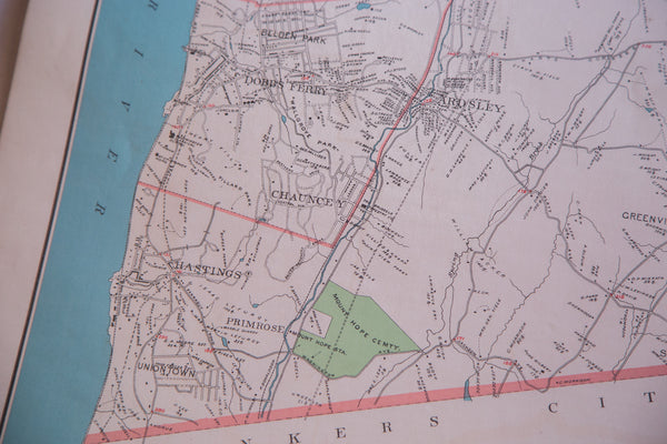 Antique map of Hudson River towns Harrison and Rye and the city of White Plains NY