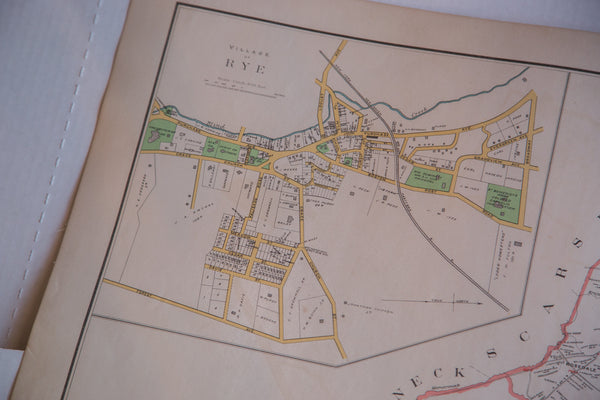 Antique map of the towns of Harrison and Rye NY and the city of White Plains New York the largest city between NYC and Albany
