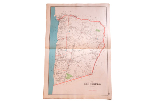 Antique map of Hudson River town Greenburgh NY located in Westchester County NY