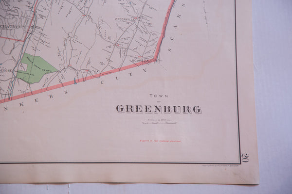 Antique map of Greenburgh NY a small New York state town located in Westchester County alongside the Hudson River near the Tappanzee Bridge and south of NYC