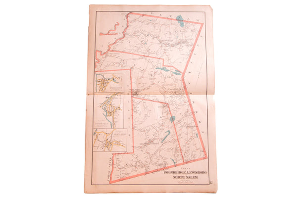 Antique map of Westchester County NY towns Pound Ridge, Lewisboro, and North Salem New York