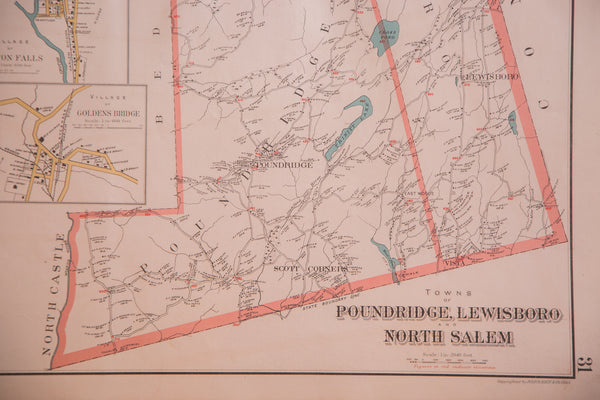 Vintage map of Westchester County New York towns Pound Ridge Lewisboro and North Salem located south of NYC