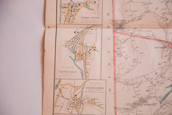 Antique map of mid-state NY towns Pound Ridge Lewisboro and North Salem located in Westchester County