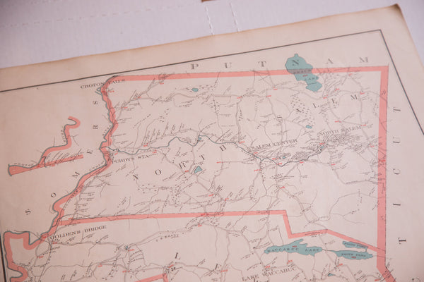 Medium size framable antique map of New York towns Pound Ridge, Lewisboro, and North Salem located south of NYC in Westchester County NY