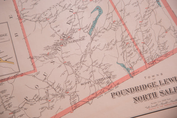 Cool antique map outlining the Westchester New York towns of Pound Ridge, Lewisboro, and North Salem NY