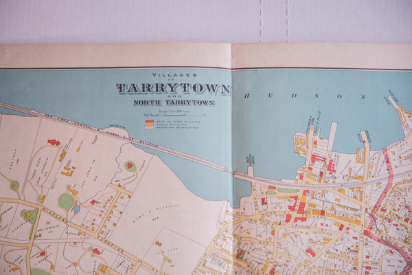 Beautiful antique map of riverside town Tarrytown NY located in Westchester County New York
