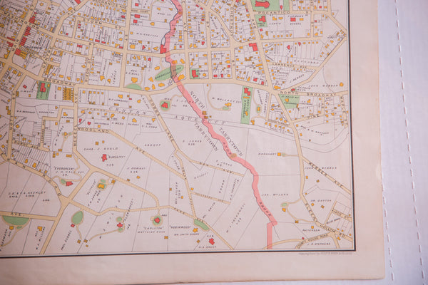 Antique map of Westchester County NY town Tarrytown NY located alongside the Hudson River