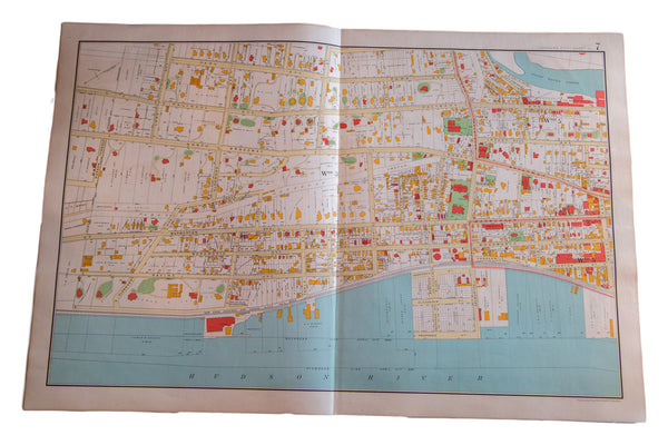 Antique map of the city of Yonkers New York located in Westchester County south of NYC alongside the Hudson River