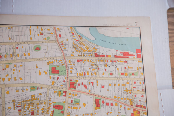 Antique map of riverside city Yonkers NY