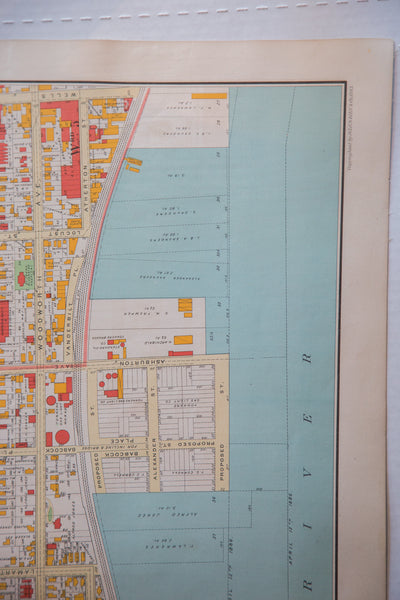 Beautiful and detailed map of the city of Yonkers NY showing buildings, the Hudson River, roads, and more.