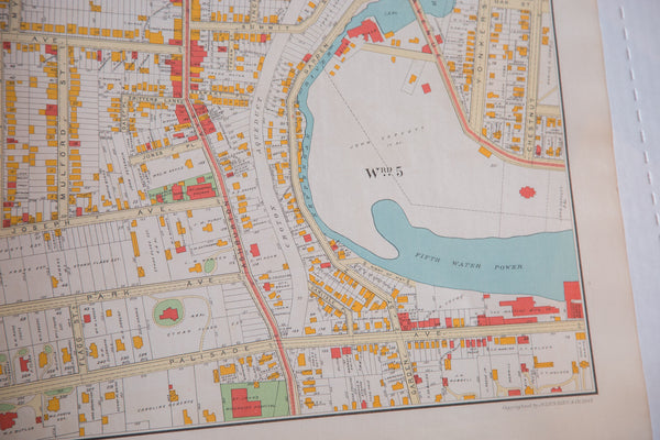 Vintage antique map of the city of Yonkers New York located just outside of NYC and the Bronx