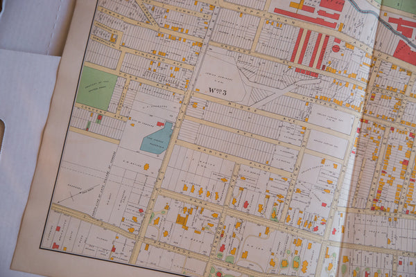 Colorful antique map of the city of Yonkers NY located in southern Westchester County New York just outside of NYC