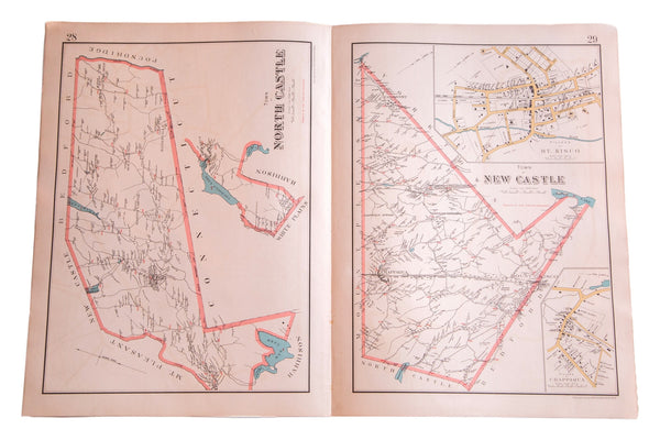 Antique map of North Castle and New Castle New York in Westchester County NY