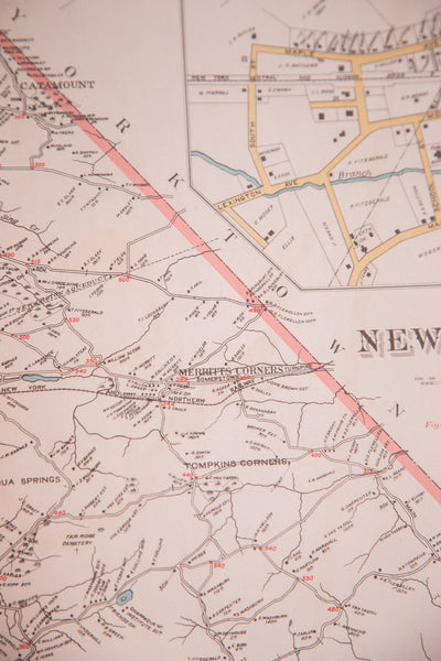 Antique map of mid-state towns North Castle and New Castle New York located in Weschester County just south of NYC