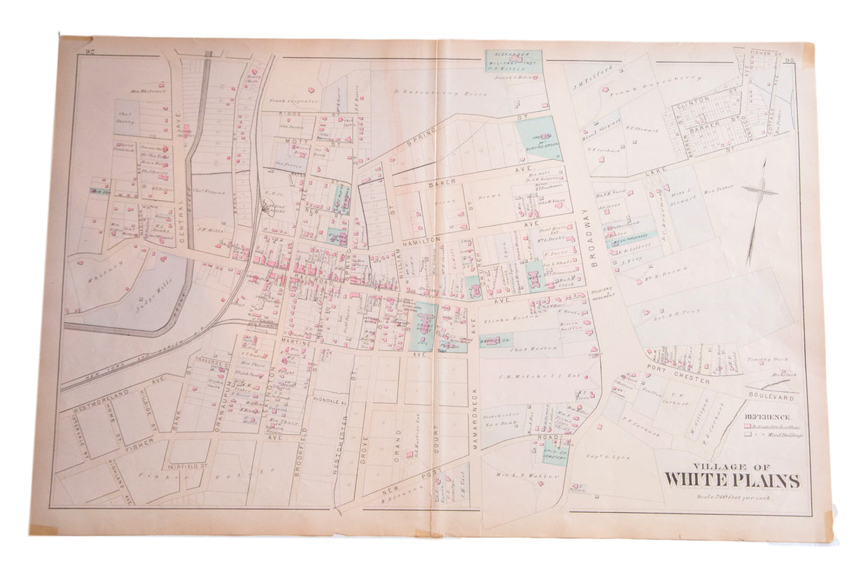 Antique map of the village of White Plains New York located in Weschester County just south of NYC