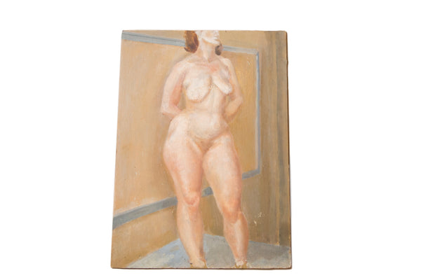 Vintage Full Figure Nude Painting - Old New House