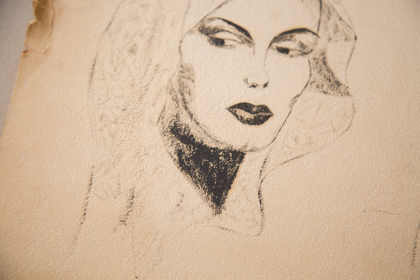 Vintage 1930's Glamour Charcoal Drawing - Old New House