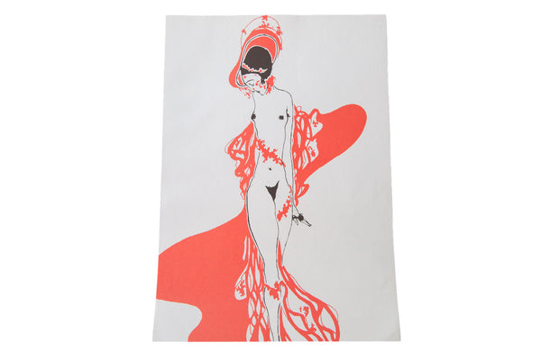 Art Deco Nude Woman Lithograph - Old New House