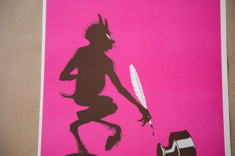 Ink Spill Devil Lithograph Art
