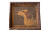 Antique Mary Neal Nettie Richardson Dog Portrait Painting - Old New House