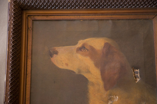 Antique Mary Neal Nettie Richardson Dog Portrait Painting