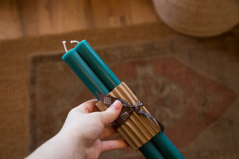 Made in NY Beeswax Candle Tapers Turquoise - Old New House