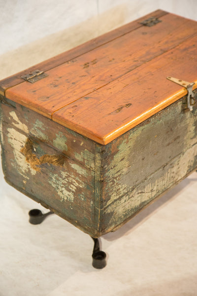 Reclaimed Industrial Trunk with Rope Handles - Old New House