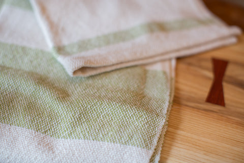 Handwoven in USA Loomination Dish Towel Lime and Cream