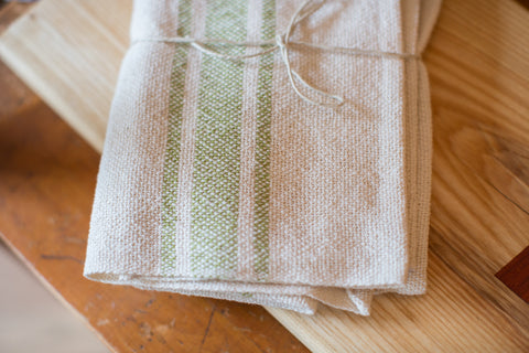 Handwoven in USA Loomination Napkin Set Lime and Cream