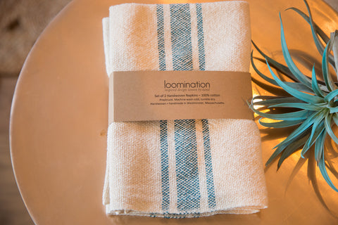 Handwoven in USA Loomination Napkin Set Teal Blue