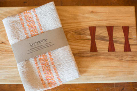 Handwoven in USA Loomination Napkin Set Tangerine