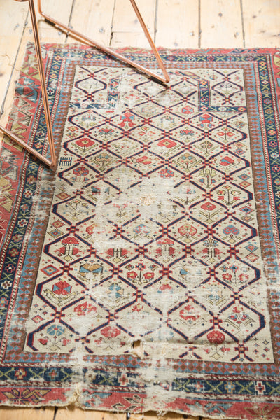 Antique Fragmented Caucasian Prayer Square Rug / Item 3691 image 5
