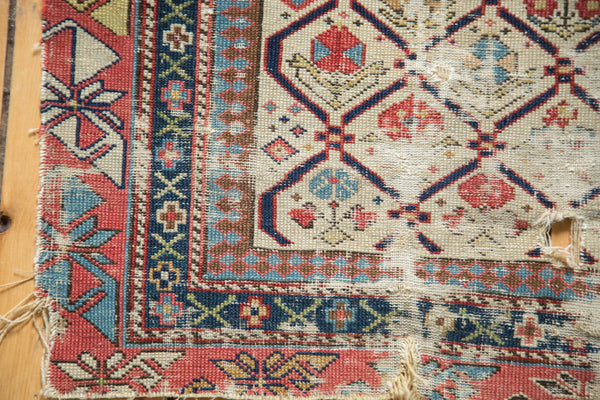 Antique Fragmented Caucasian Prayer Square Rug