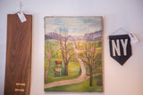 Antique Farm Mountainside Folk Art Painting
