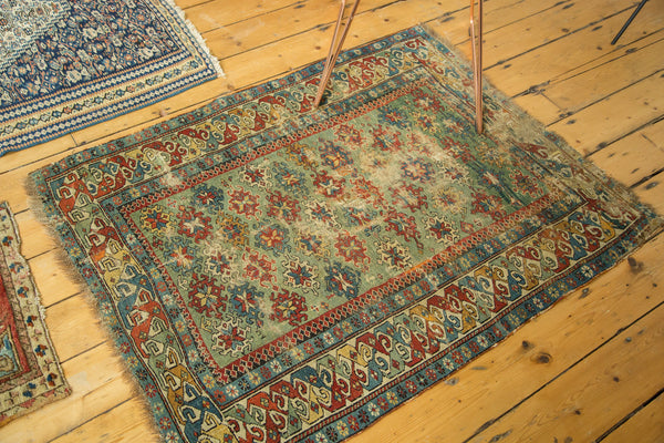 Antique Early Caucasian Square Rug