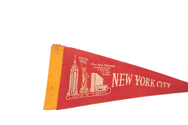 Red NYC New York Coliseum Empire State Felt Flag - Old New House