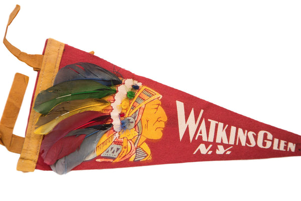 Red Watkins Glen NY Headdress Native American Felt Flag - Old New House