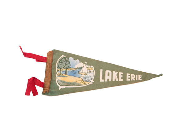 Antique Green Lake Erie Sailboat Felt Flag - Old New House