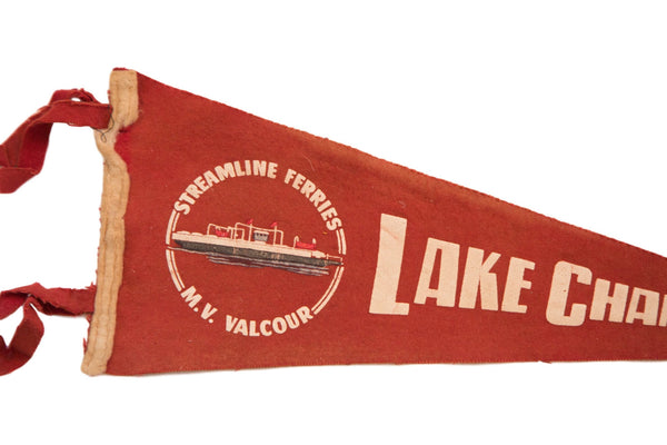 Red Streamline Ferries Lake Champlain Felt Flag - Old New House