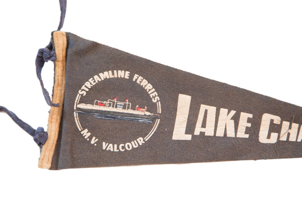Antique Gray Streamline Ferries Lake Champlain Felt Flag - Old New House