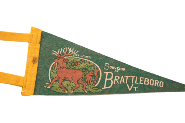 Antique Brattleboro Vermont Deer in Forest Felt Flag - Old New House