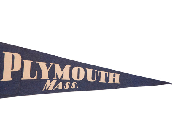 Blue Plymouth Massachusetts Felt Flag - Old New House