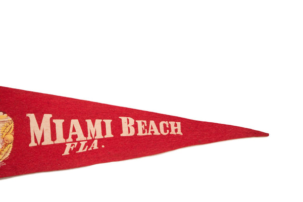 Miami Beach Florida with Alligator and Palm Trees Felt Flag - Old New House