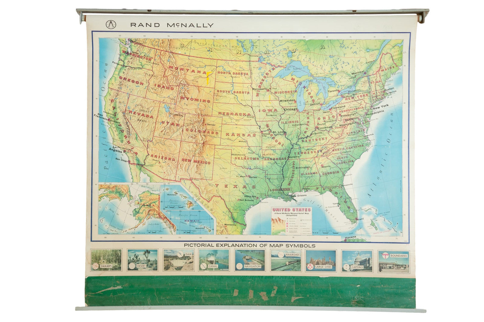 Vintage Rand McNally USA Pull Down Map  Old New House - Us vintage map with dowel