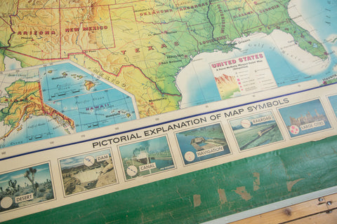 Vintage Rand Mcnally Usa Pull Down Map
